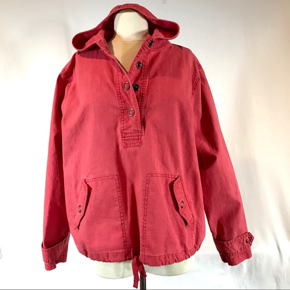 Coldwater Creek Jackets & Blazers - Coldwater Creek Red Hooded Popover Cotton Jacket